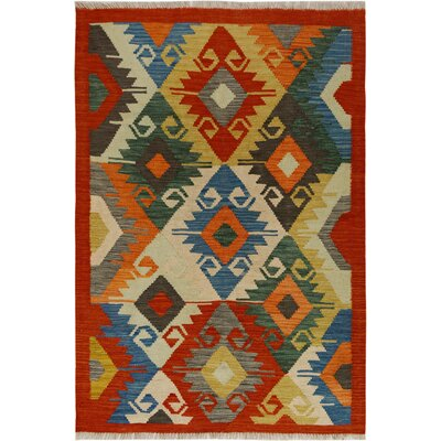 One-of-a-Kind Bakerstown Kilim Hand-Woven Red/Blue Area Rug