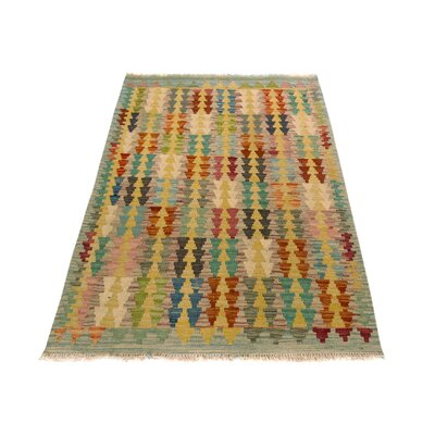 One-of-a-Kind Bakerstown Kilim Hand-Woven Blue/Rust Area Rug