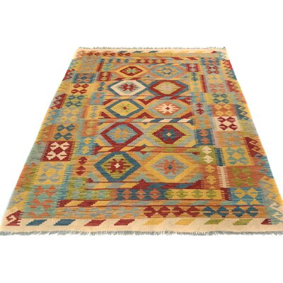 One-of-a-Kind Bakerstown Kilim Hand-Woven Ivory/Red Area Rug