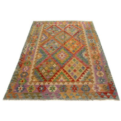 One-of-a-Kind Bakerstown Kilim Hand-Woven Blue/Gold Area Rug