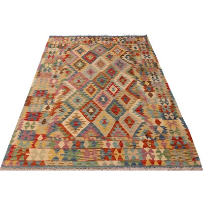 One-of-a-Kind Bakerstown Kilim Hand-Woven Blue/Ivory Area Rug