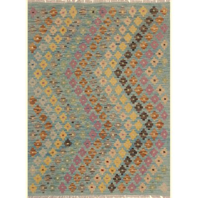 One-of-a-Kind Bakerstown Kilim Hand-Woven Blue/Brown Area Rug