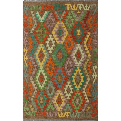 One-of-a-Kind Bakerstown Kilim Hand-Woven Gray/Green Area Rug