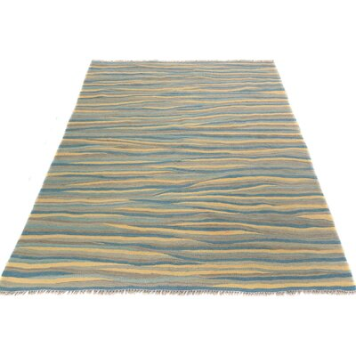 One-of-a-Kind Tilghman Kilim Hand-Woven Ivory/Blue Area Rug