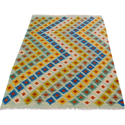 One-of-a-Kind Bakerstown Kilim Hand-Woven Blue/Orange Area Rug