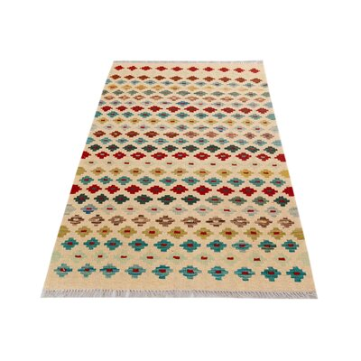 One-of-a-Kind Bakerstown Kilim Hand-Woven Ivory/Teal Area Rug