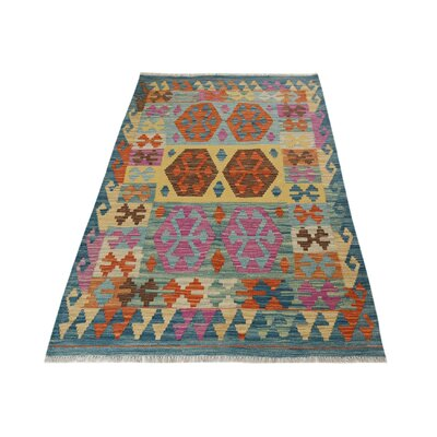 One-of-a-Kind Bakerstown Kilim Hand-Woven Blue Area Rug