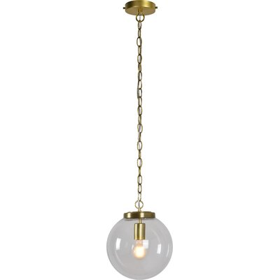 Dicken 1-Light LED Globe Pendant Finish: Satin Brass, Size: 78 H x 14 W x 14 D