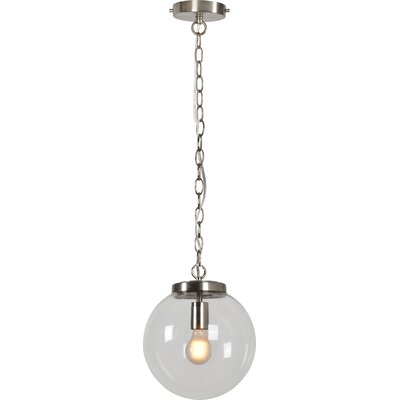 Dicken 1-Light LED Globe Pendant Finish: Satin Nickel, Size: 74