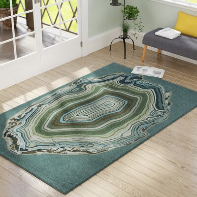 Lalunita Agate Hand-Tufted Blue Indoor/Outdoor Area Rug Rug Size: 36 x 56