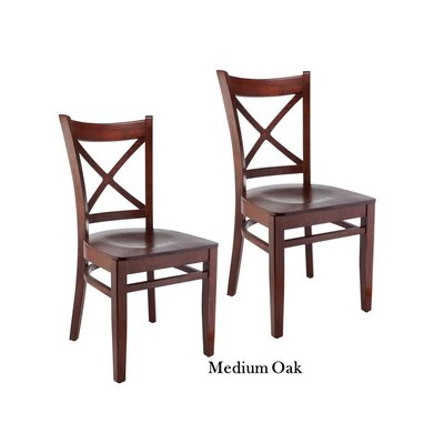 Helsel Cross Back Solid Wood Dining Chair (Set of 2) Color: Oak