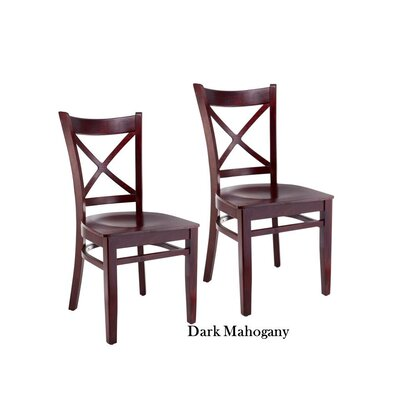 Helsel Cross Back Solid Wood Dining Chair (Set of 2) Color: Dark Mahogany
