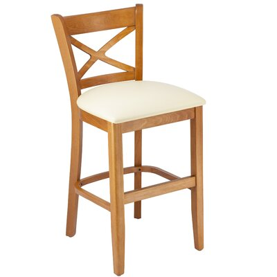 Helsley Cross Back 24 Bar Stool Upholstery: Cream