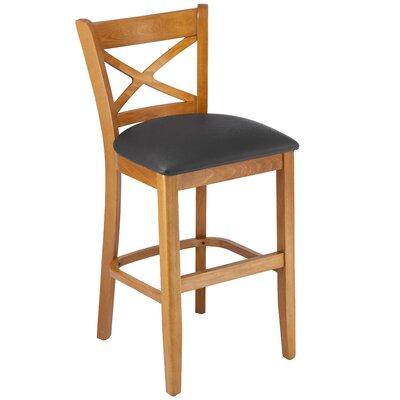 Helsley Cross Back 24 Bar Stool Upholstery: Black