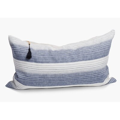 Rhoden Linen Lumbar Pillow Color: Blue, Size: 14 x 48