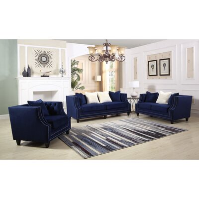 Jarrett 3 Piece Living Room Set Color: Blue