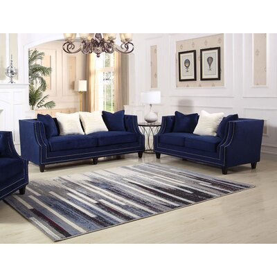 Jardine 2 Pieces Living Room Set Color: Blue
