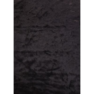 Tegan Faux Fur Black Area Rug