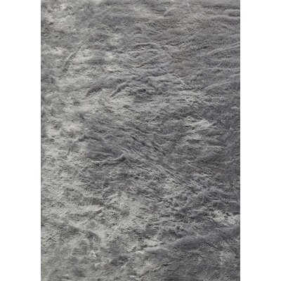 Terrene Faux Fur Gray Area Rug