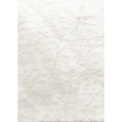 Thayer Faux Fur White Area Rug
