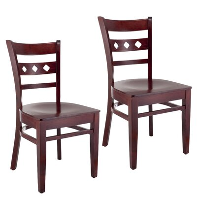 Ewell Solid Wood Dining Chair (Set of 2) Color: Mahogany