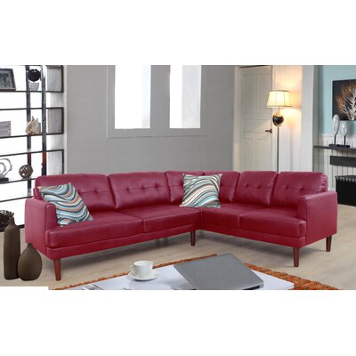Ipock Sectional Upholstery: Red, Orientation: Right Hand Facing