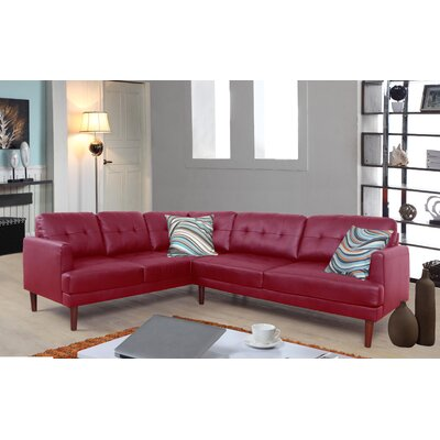 Dahlke Sectional Upholstery: Red, Orientation: Left Hand Facing