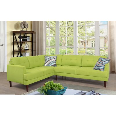 Dahlke Sectional Upholstery: Lint Chartreuse, Orientation: Left Hand Facing