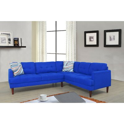 Dahlke Sectional Upholstery: Lint Royal Blue, Orientation: Right Hand Facing