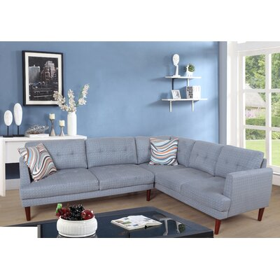 Mayville Sectional Upholstery: Light Blue, Orientation: Right Hand Facing