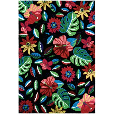 Willamette Hand-Woven Black/Green/Red Indoor/Outdoor Area Rug Rug Size: Rectangle 36 x 56