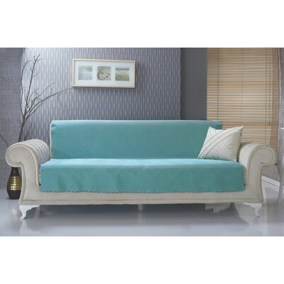 Diamond Box Cushion Sofa Slipcover Upholstery: Turquoise