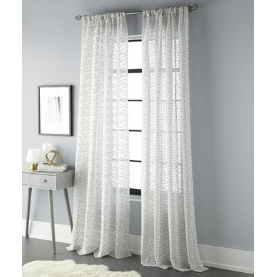 Embroidered Geometric Sheer Curtain Panels SK001149-96