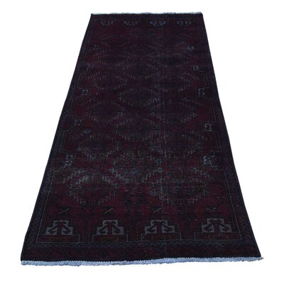 Overdyed Turkoman Baluch Hand-Knotted Black Area Rug