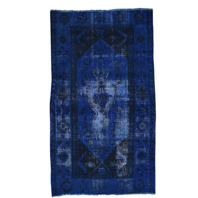Bakhtiari Overdyed Worn Hand-Knotted Blue Area Rug