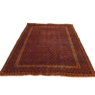 Overdyed Sarouk Mir Oriental Hand-Knotted Red Area Rug
