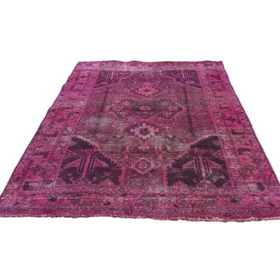Overdyed Hamadan Oriental Hand-Knotted Pink Area Rug