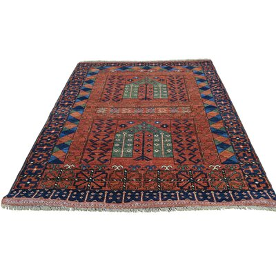 Afghan Ersari Prayer Oriental Hand-Knotted Red Area Rug