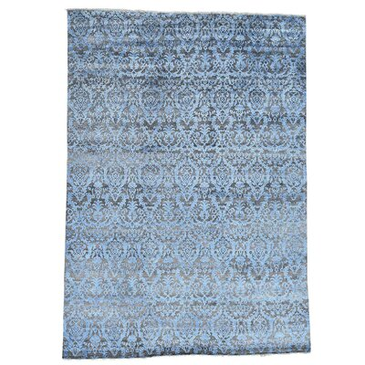 Damask Hi and Lo Hand-Knotted Silk Brown Area Rug