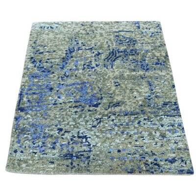 Hi and Lo Abstract Hand-Knotted Silk Purple/Light Gray Area Rug
