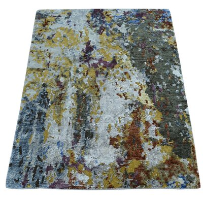 Hi and Lo Abstract Hand-Knotted Silk Mustard/Blue Area Rug