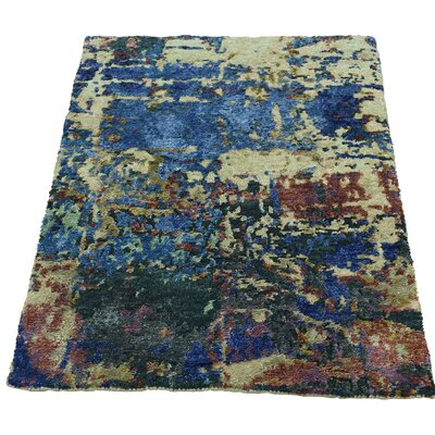 Hi and Lo Abstract Hand-Knotted Silk Blue/Beige Area Rug