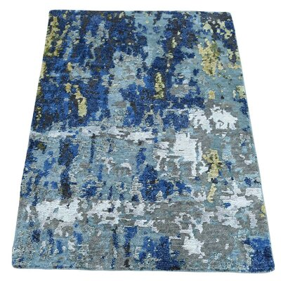 Hi and Lo Abstract Hand-Knotted Silk Dark Blue/Gray Area Rug