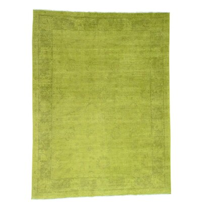 Mahal Overdyed Light Oriental Hand-Knotted Green Area Rug