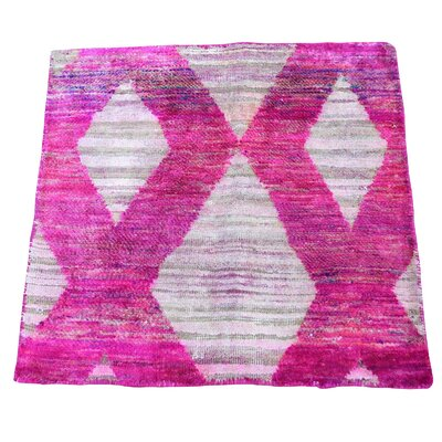 Oidized Sample Hand-Knotted Silk Pink Area Rug