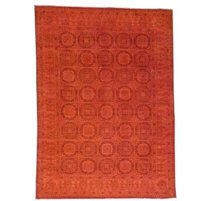 Overdyed Khotan Oriental Hand-Knotted Red Area Rug