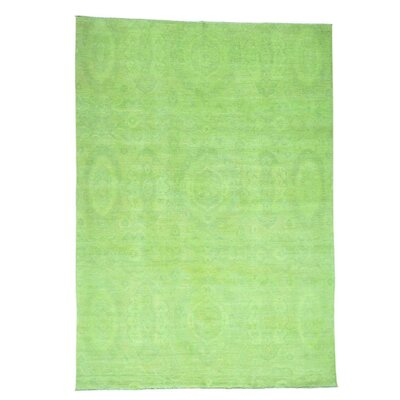 Light Overdyed Ikat Oriental Hand-Knotted Green Area Rug