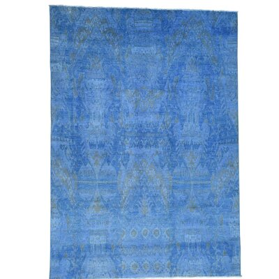 Overcast Overdyed Ikat Oriental Hand-Knotted Blue Area Rug