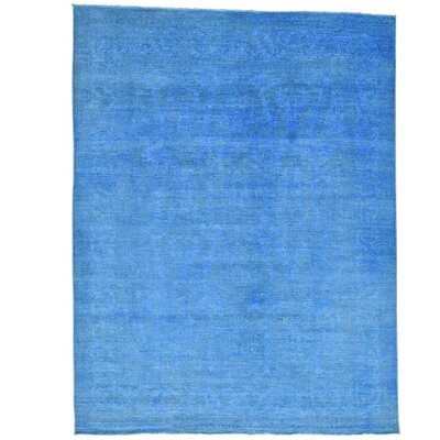 Mahal Overdyed Oriental Hand-Knotted Blue Area Rug