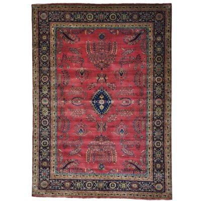 Sarouk Fereghan 300 KPSI New Zealand Hand-Knotted Red Area Rug